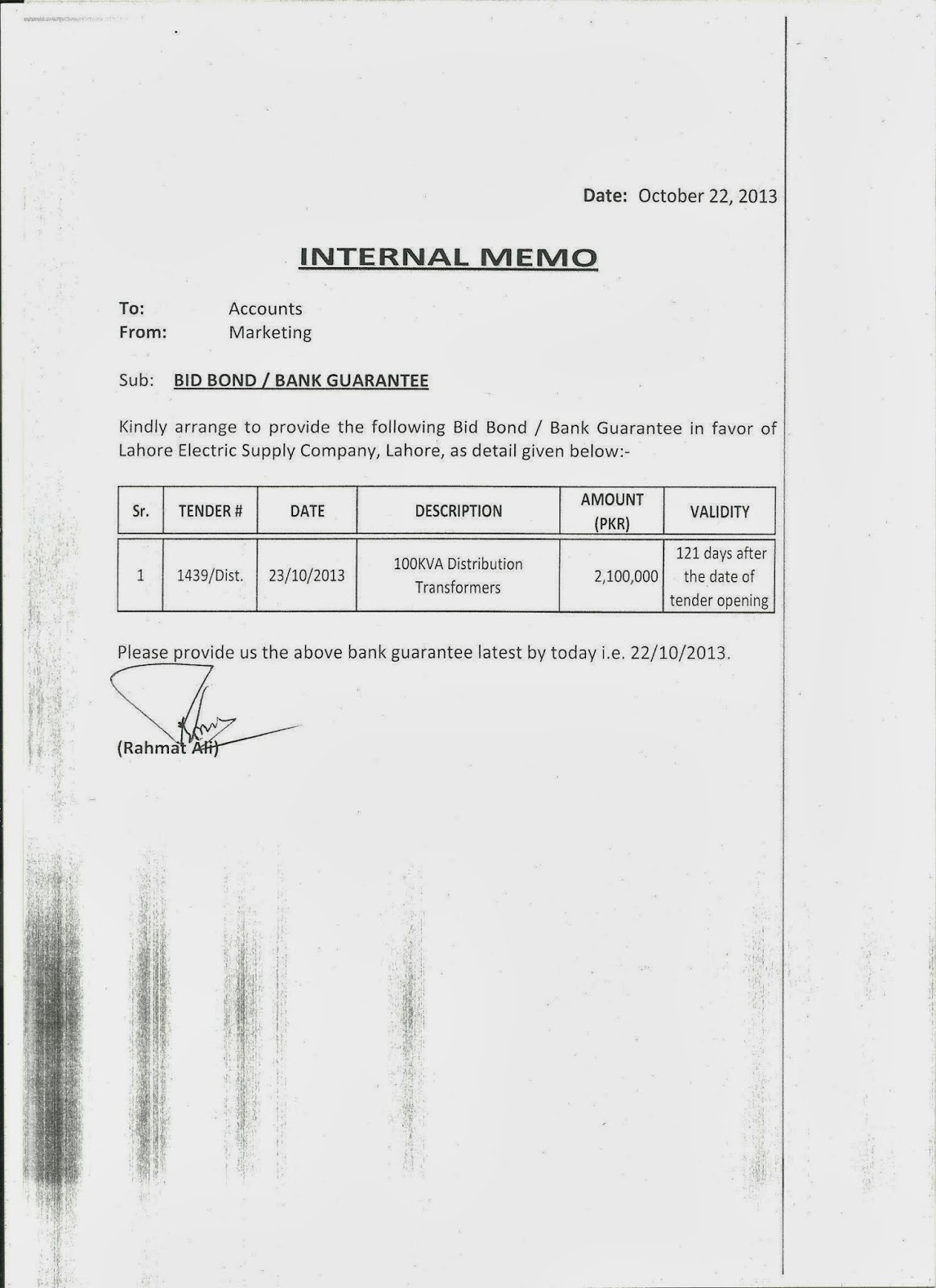 internal memo samples